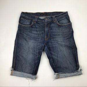 Nudie Jeans Lab Distressed Jean Shorts 34 Raw Hem